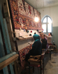 Faig Ahmed's weavers at the loom working on another commission, Baku