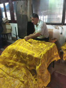 Wax resist dying of kalaghayi silk scarves, Baskal Silk Center