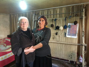 Terlan Mamedova with the HALI Tour guest and weaver behind the California Rug Project, Vicki Fraser