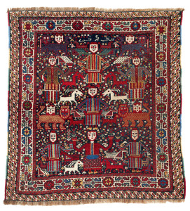 Lot 84. Khamseh pictorial rug, South West Persia, Fars, Late 19th century. 87 x 90 cm. Estimate €8,500.