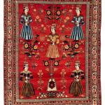 Lot 85. Bakhtiari pictorial rug, Western Central Persia,  Early 20th century. 193 x 153 cm. Estimate € 18,500.00