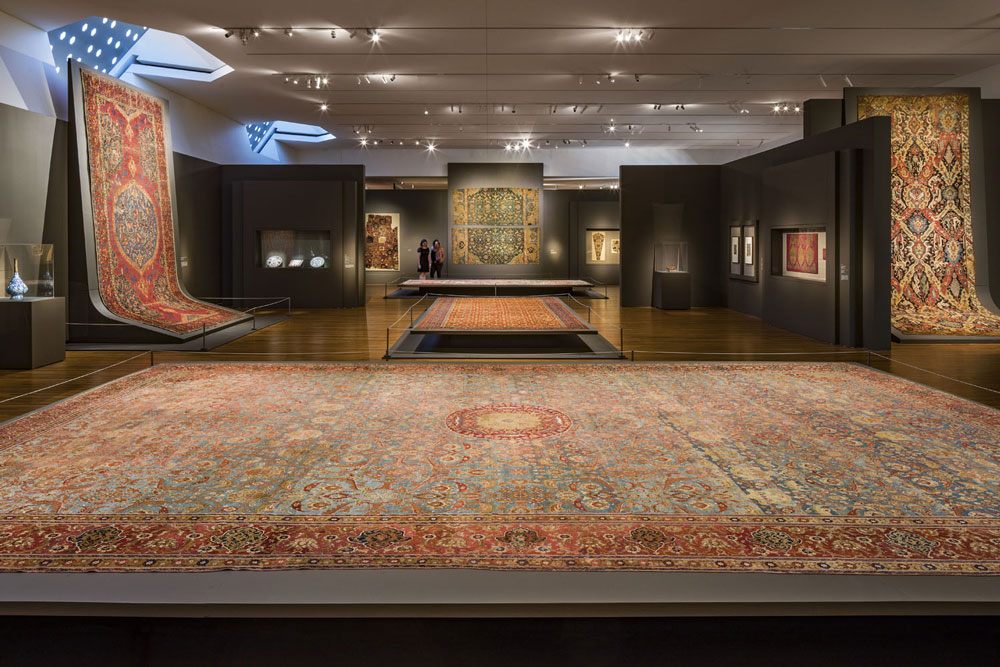 View of some of the carpets on display in 'Arts of the East'