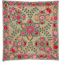 Lot 90. Shahrisyabz Suzani, Central Asia, South West Uzbekistan, Ca. 1875. Silk embroidery on a wool ground.  135 x 127 cm. Estimate EUR 6,000