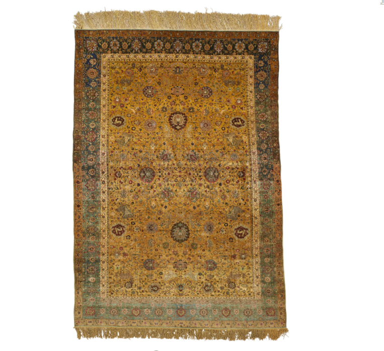 Lot 84, an unsigned silk and metal thread Kum Kapı carpet, Turkey 20th century (est. £80-120,000), sold for £175,000 ($230,090). Sotheby's London, Rugs and Carpets, 7 November 2017