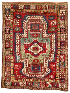 Lot 22. Sevan Kazak rug, South West Caucasus,  Mid 19th century. 250 x 191 cm. Estimate €13,000.00