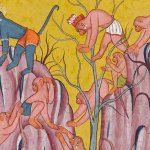 The monkeys search for Sita in the forest Page from the Kishkindha Kanda of the Ramayana By a master of Style III of the 'Shangri Ramayana' Bahu or Kulu, 1700–10,(detail)