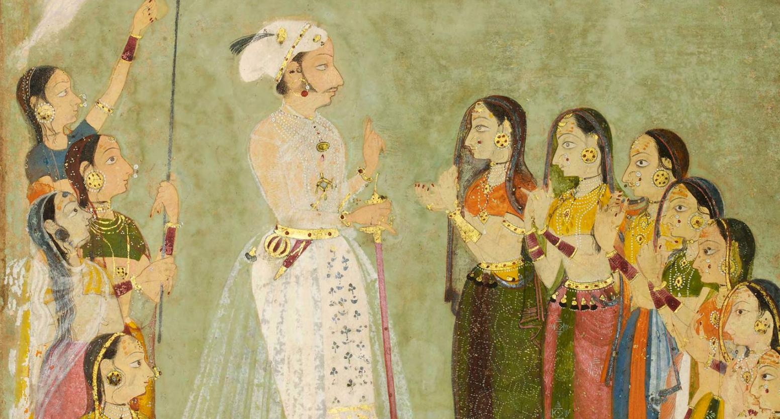 Prince Amar Singh of Mewar with ladies Udaipur, c. 1695, (detail)