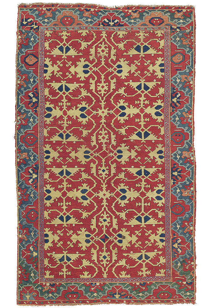 Lot 258, A 'Lotto' rug probably Ushak, West Anatolia, late 16th-century. Estimate: £40,000-£60,000 ($) Sold for: £187,500 ($261,110)