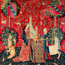 Hearing The lady and the unicorn circa 1500     Wool and silk     369 x 290cm