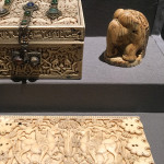 Medieval casket, chess piece and plaquette in ivory