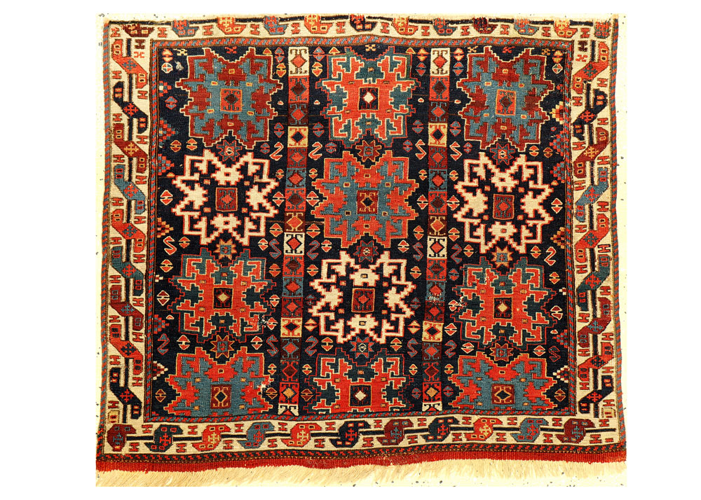 RE7194-Rare-Shahsavan-Lesghi-Sumakh-Bagface-Published-by-Eberhart-Herrmann,-South-Persia,-19th-century,-approx.-82-x-73-cm,-Estimate-1500---5500-EURO,-Starting-Price-1000-EURO