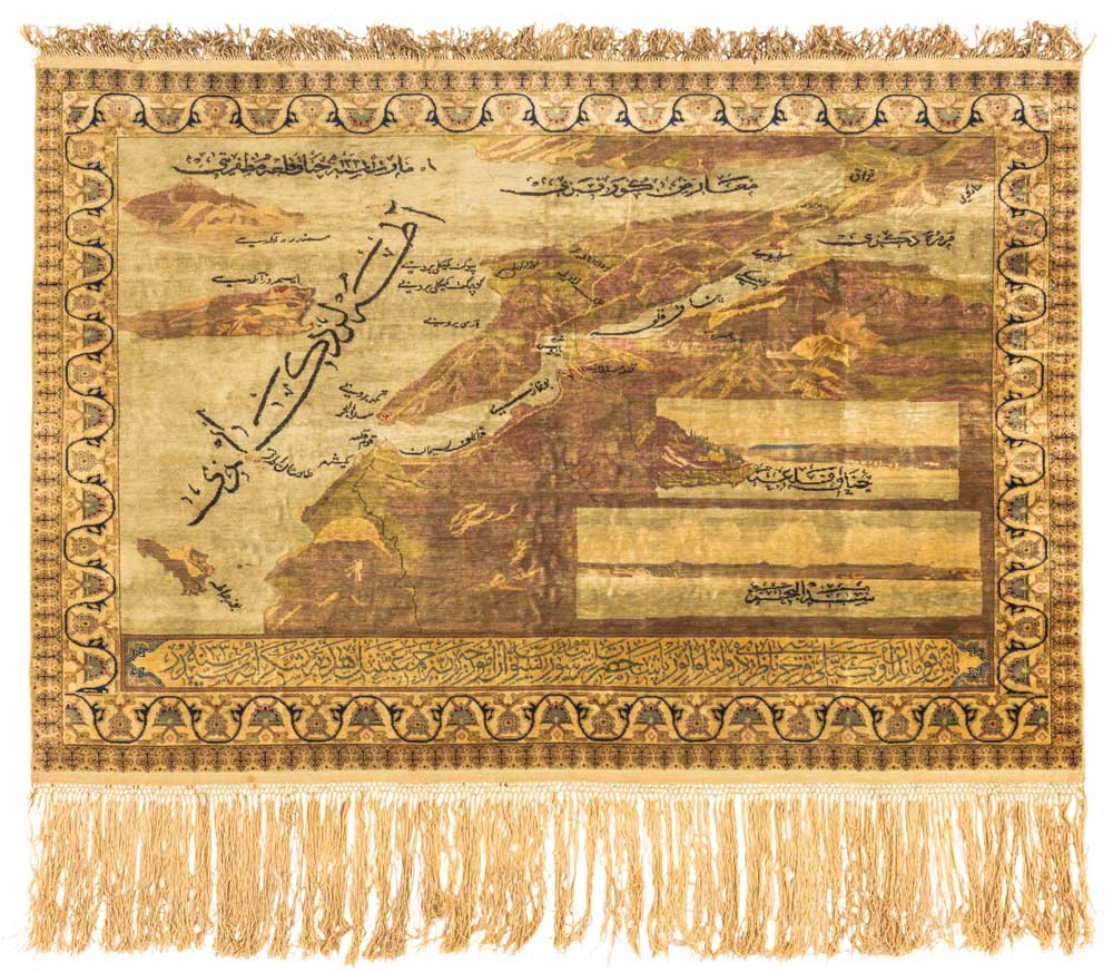 Turkish All Silk Map Rug Probably Hereke Dated Ah 1335 1916 Ce 98 X 146 Cm This Historically Significant Is Woven As A Detailed Of The
