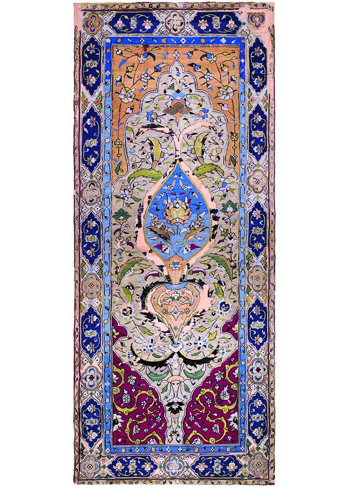 Kilim Kashan 1575 1600 Silk And Metal Thread Tapestry Weave 1 28 X 3 15 M 4 2 10 Carpet Museum Of Iran Inv 20830