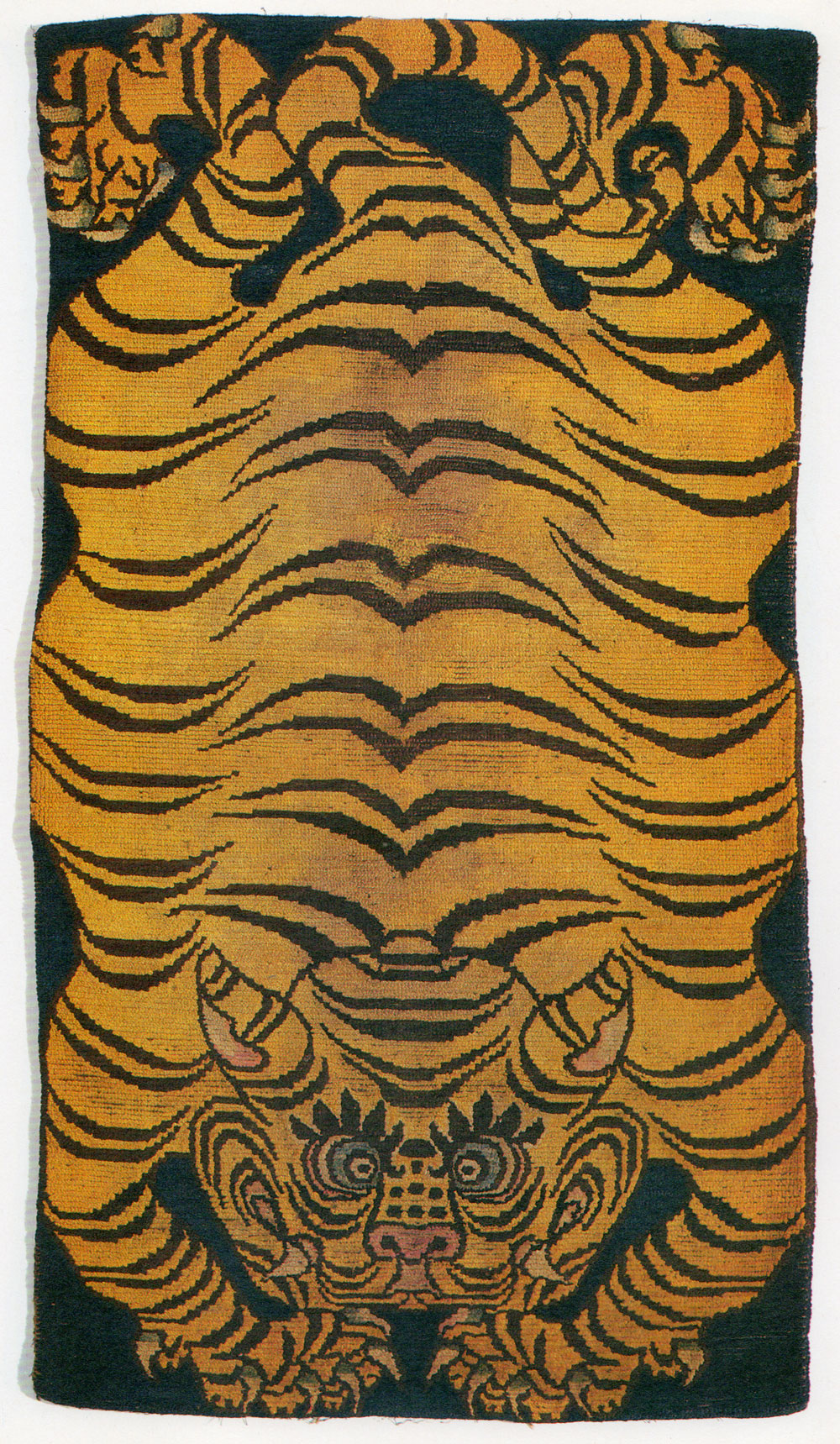Antique Tibetan Tiger Rug. Private Collection