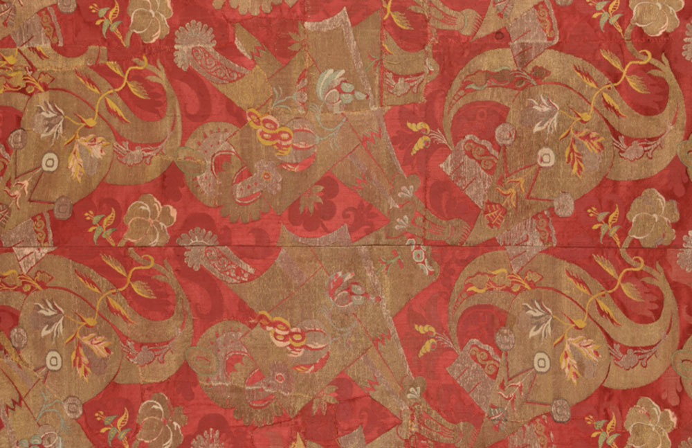 Bizarre silk panel, late 17th - early 18th century, France or Italy, Silk brocade, Sarajo, TX3921