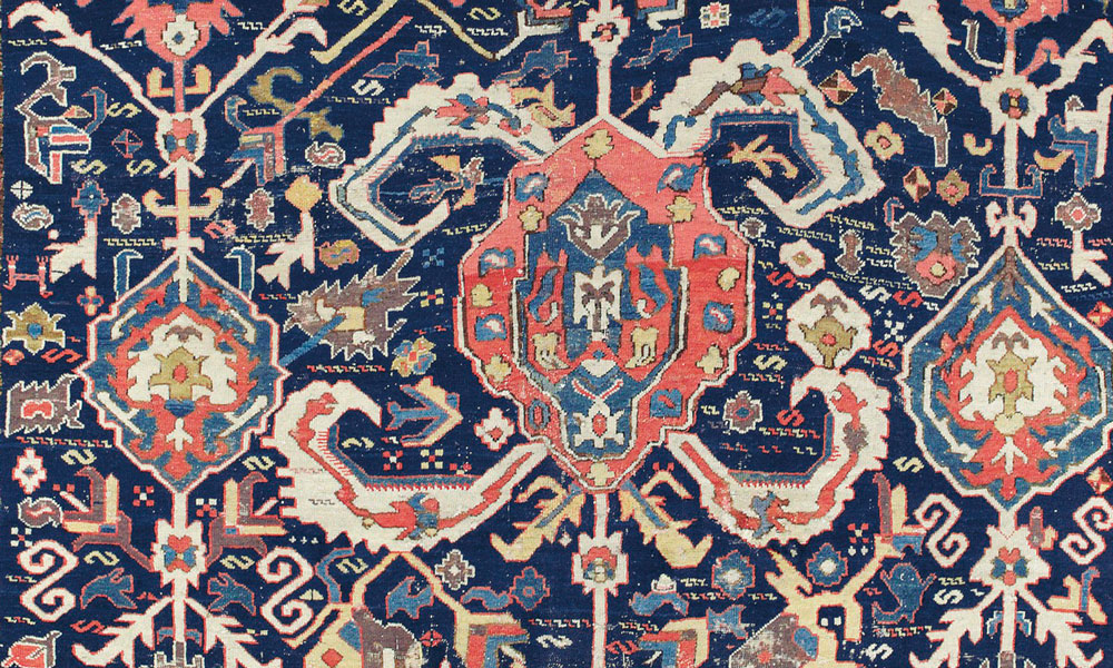 Lot 302, The Cambalios animal and blossom carpet, Azerbaijan, late 18th century