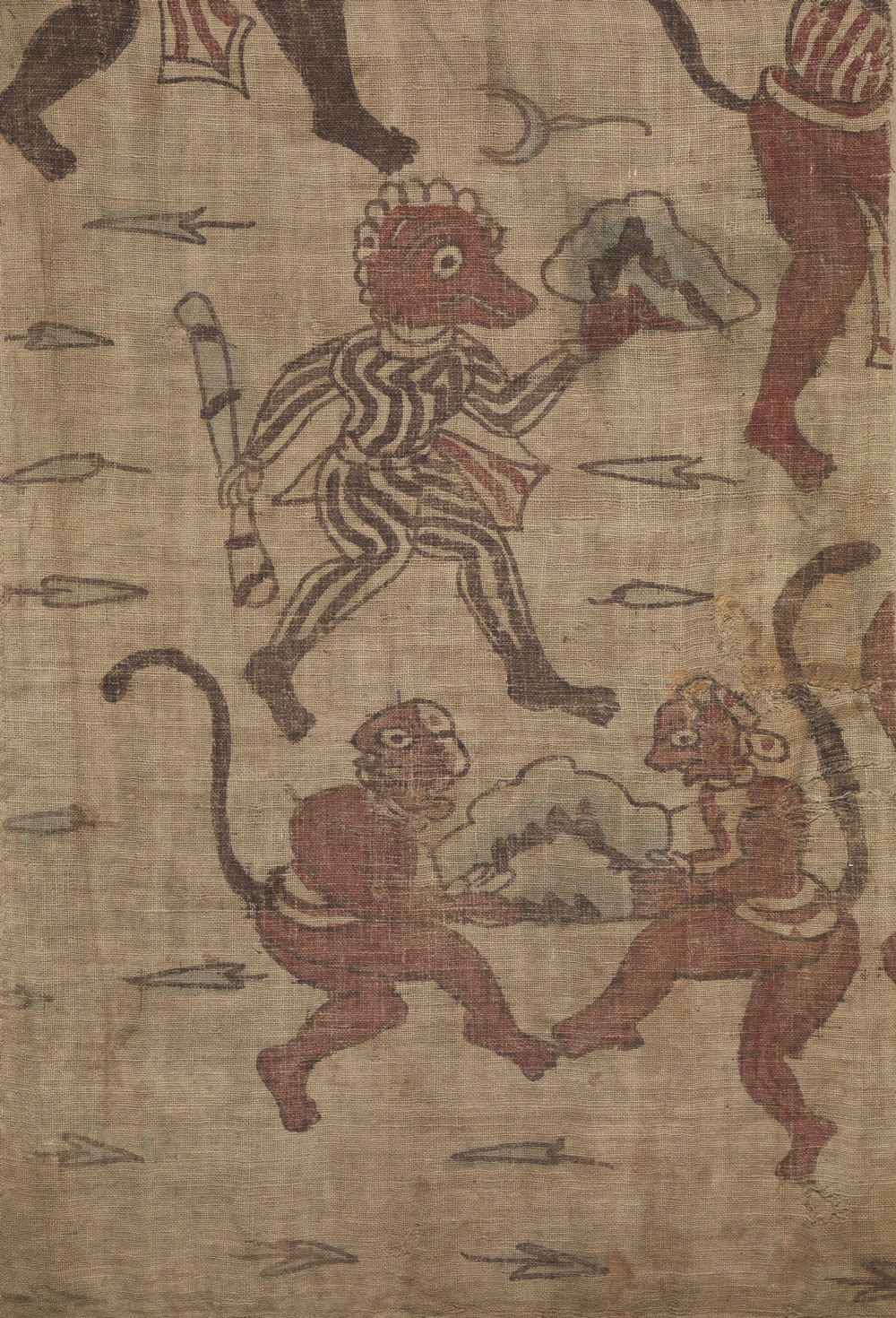 Artist Unknown, India, made for the Indonesian market, fragment from a Ramayana (Ceremonial Hanging), mordant dyed cotton plainweave, Cotsen Textile Traces Collection