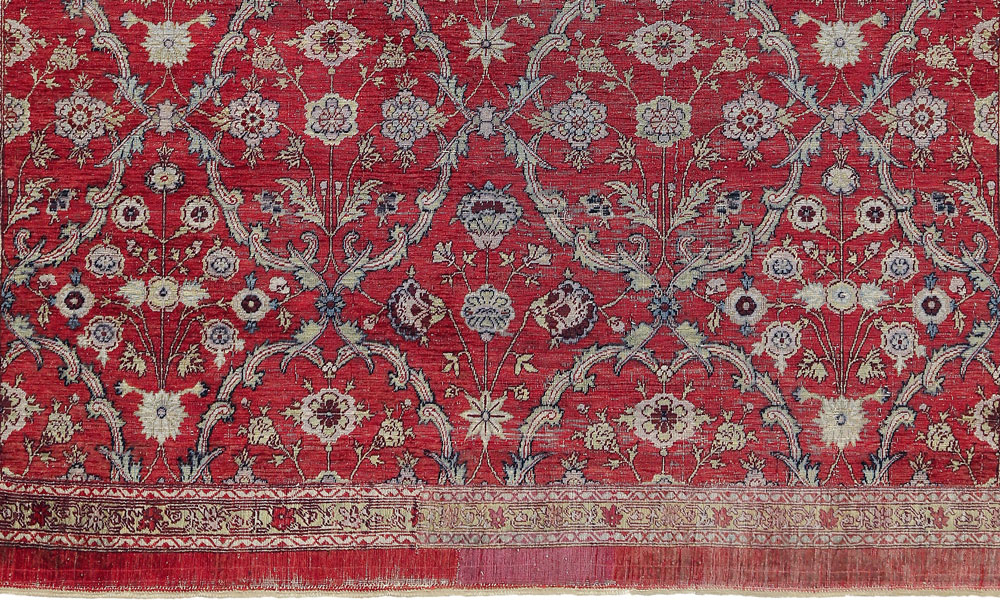 "Lot 46, Mughal silk floral lattice carpet fragment, Deccan, probably Hyderabad, late 17th century. 1.63 x 1.44m (5' 4"" x 4' 9""). Sotheby's, London, 6 November 2018, estimate £20-30,000"