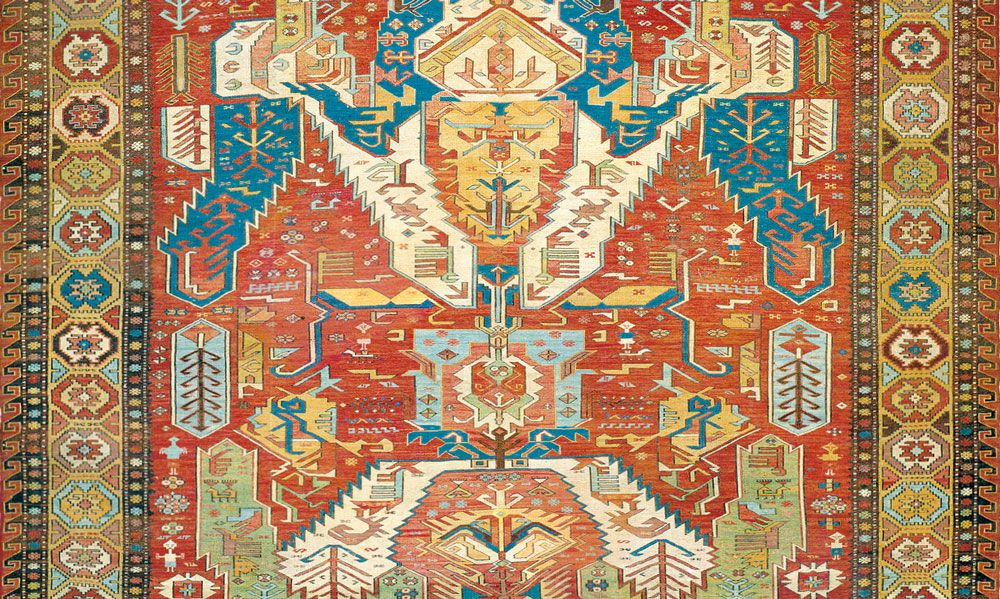 Dragon Sumakh Carpet, the Caucasus, dated 1806. All wool, weft-float brocading, 229 x 336 cm