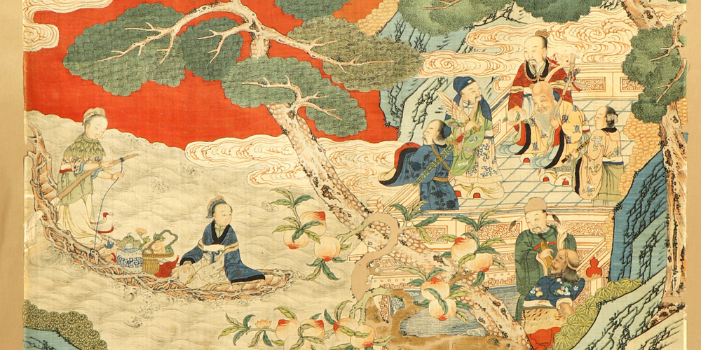 Lot 7124, Early Imperial fine silk and metal-thread Kesi tapestry (detail), Northeast China, 17th/18th-century. 1.90 x 0.95 m. Henry's Auktionshaus, 8 December 2018, estimate €2,200-7,500