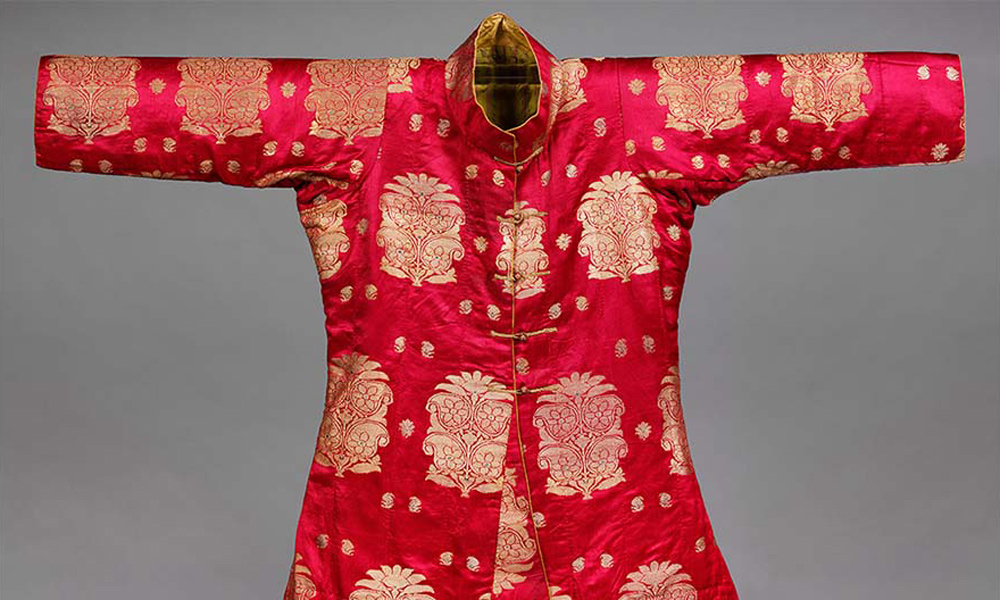 Man's Jacket, silk (satin weave) with metal-wrapped thread brocading, Gujarat, prob. Ahmedabad or Surat, 1852-4, 'The Fabric of India', Cincinnati Art Museum