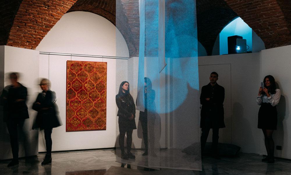 Installation view, 'Antique Textile Art I', Galleria Battilossi, Via Giolitti 45 G. Turin, Italy