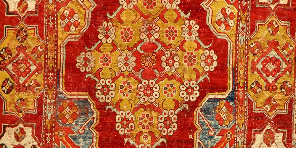Lot 7207, Early Transylvanian double-niche Ushak rug (detail), West Anatolia, 18th century. 1.72 x 1.20 m. Henry's Auktionshaus, 8 December 2018, estimate €4,200-8,500
