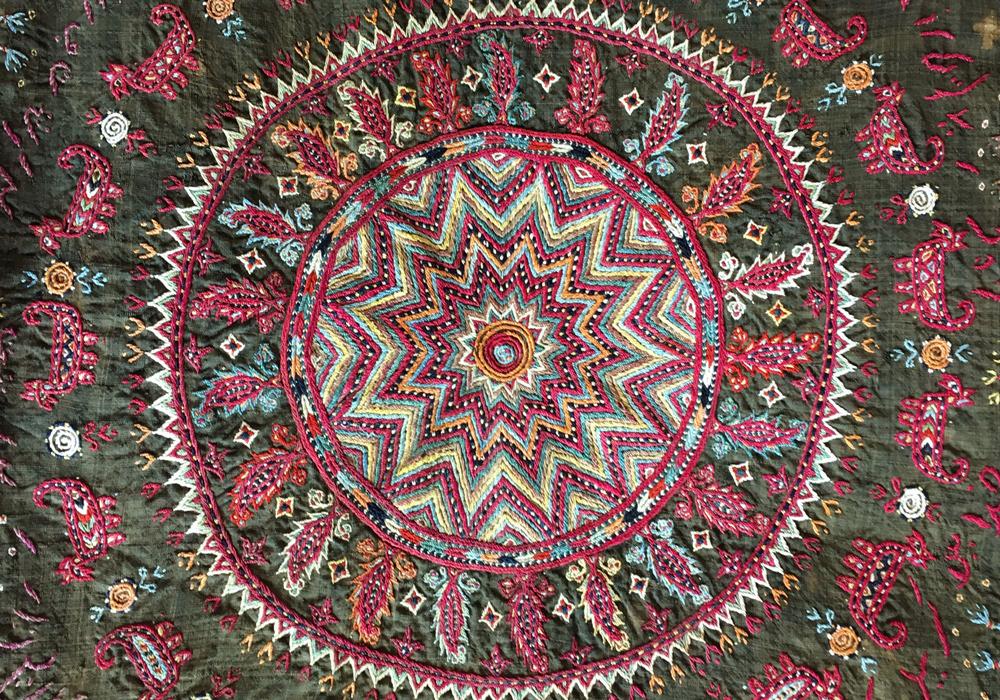 Zoroastrian shawl (detail), Yazd, Iran, 19th century, Joss Graham Gallery