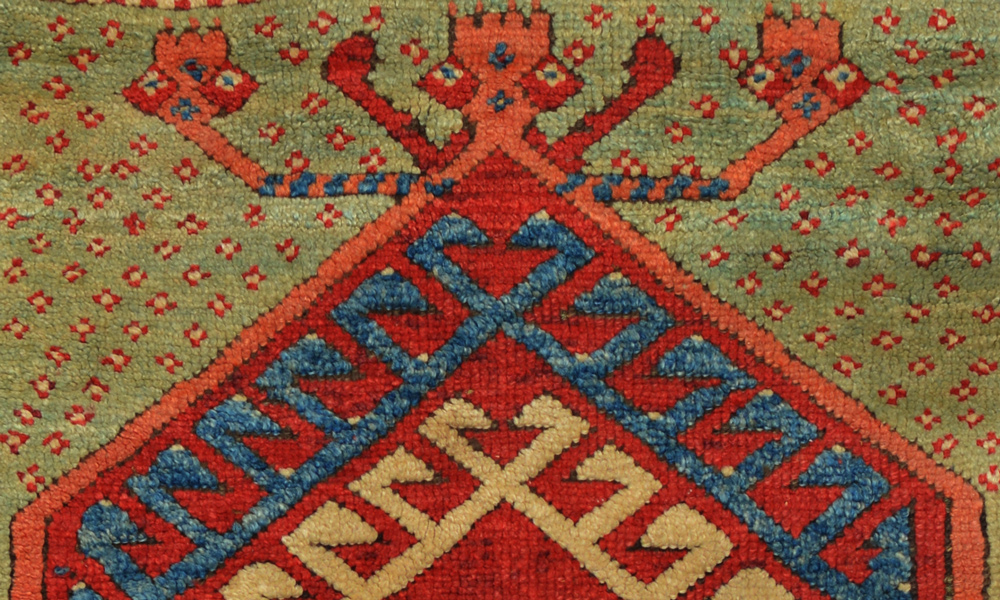 Lot 75, Avunya prayer rug (detail), northwest Anatolia, mid 19th century. 1.13 x 1.44 m. Rippon Boswell, Wiesbaden, 17 November 2018, estimate €2,500-3,500