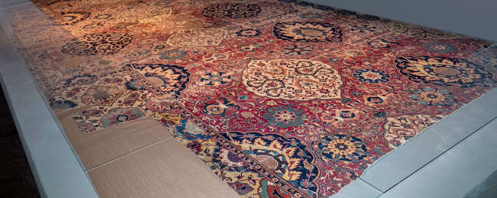 The primary Sarajevo 'vase-technique' carpet, the largest of all, comprises two surviving fragments. National Museum of Bosnia Herzegovina, 2111/I, a