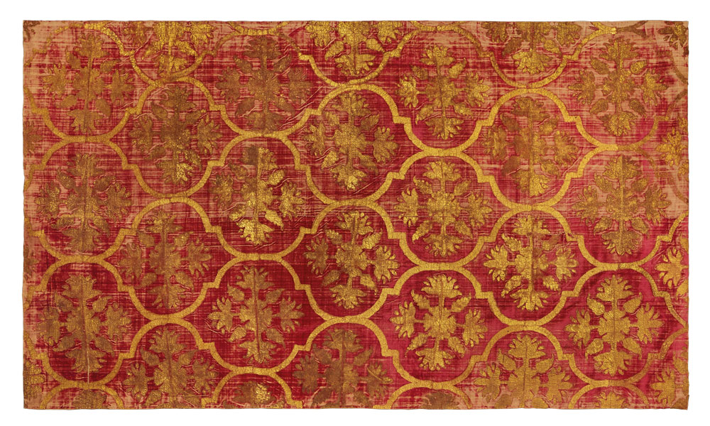 Silk Velvet Tent Panel with Stamped Gold Decoration, North India, 17th century. 118 x 188 cm