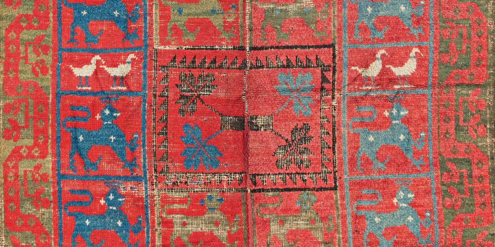 Lot 108, Alpujarra wedding rug with inscriptions (detail), Spain, 16th century. Theo Häberli private collection. Estimate: €6,000 – 8,000.