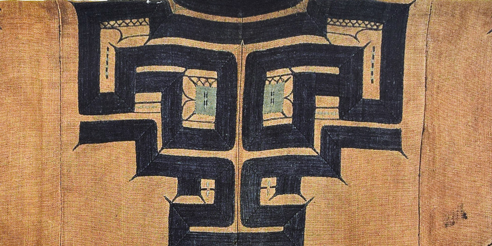 "Attush bark textile ceremonial robe with protective motifs (detail), Hokkaido Ainu, Japan, 19th century. Cotton kiribuse (appliqué) and nuituri (embroidery), 1.21 m x 1.28 m (4' 0"" x 4' 2""). Different styles of robes can be associated with different families/locations"