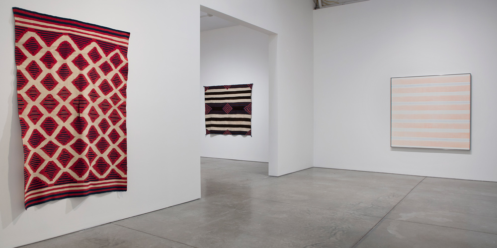 Installation view, 'Agnes Martin / Navajo Blankets', Pace Gallery, New York