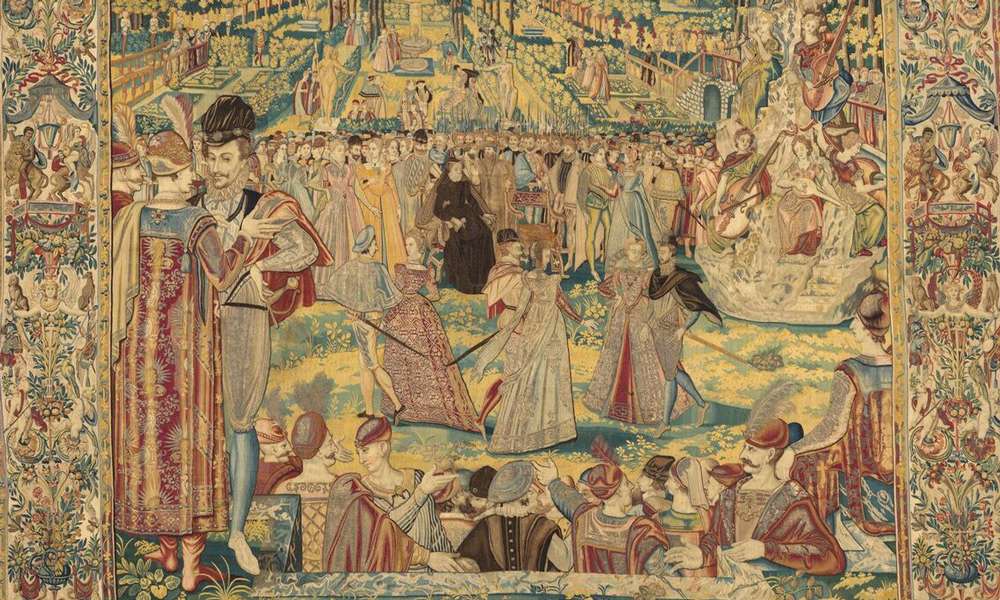 Polish Ambassadors (detail), from the Valois Tapestries, c. 1576. Woven under the direction of Master WF, Brussels. Wool, silk, silver and gilded silver metal-wrapped thread; 3.815 x 3.945 m. Gallerie degli Uffizi, Palazzo Pitti, deposit, Florence, Arazzi n. 472. Photo: Robert Palermo