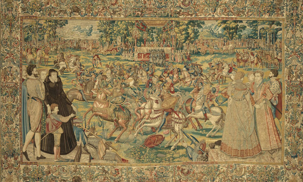 Tournament (detail), from the Valois Tapestries, c. 1576. Woven under the direction of Master MGP, Brussels. Wool, silk, silver and gilded silver metal-wrapped thread; 3.85 x 6.045 m. Gallerie degli Uffizi, Palazzo Pitti, deposit, Florence, Arazzi n. 495. Photo: Robert Palermo