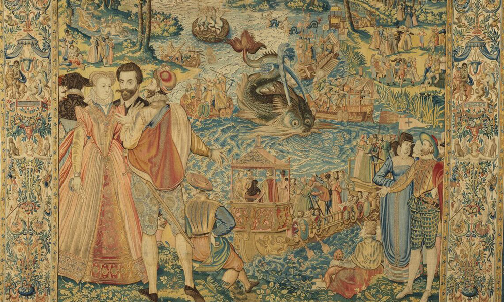 Whale (detail), from the Valois Tapestries, c. 1576. Woven under the direction of Master MGP, Brussels. Wool, silk, silver and gilded silver metal-wrapped thread; 3.98 x 3.96 m. Gallerie degli Uffizi, Palazzo Pitti, deposit, Florence, Arazzi n. 493. Photo: Robert Palermo