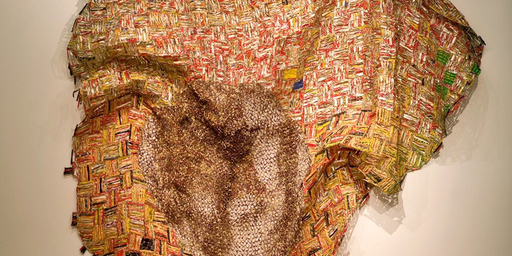 El Anatsui, Iris (detail), 2012. Aluminium and copper, 300 x 310 cm. Courtesy October Gallery, London. Photo Jonathan Greet.