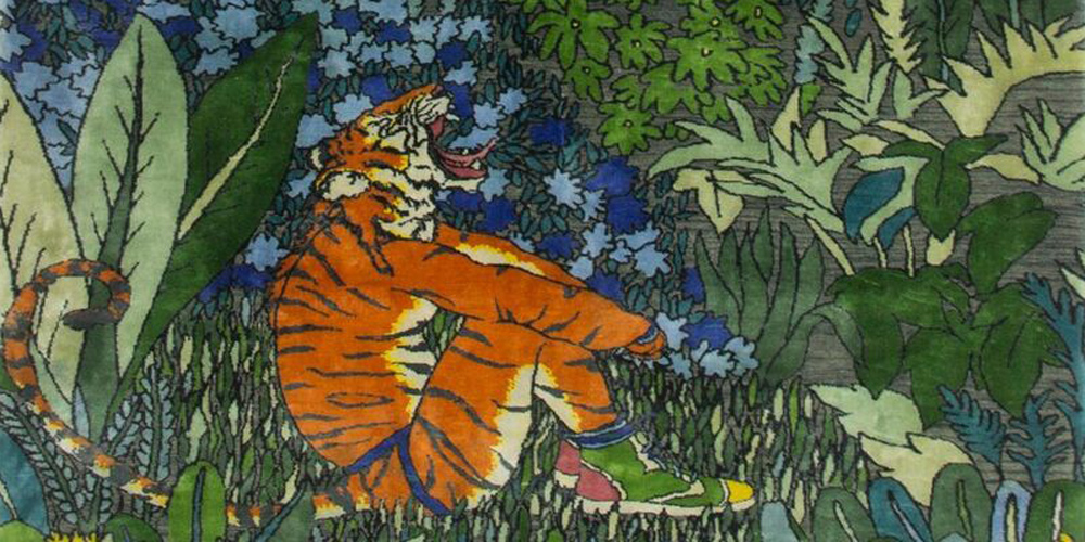 Detail of rug designed by Raqib Shaw, hand-knotted in hand-spun wool and silk by Christopher Farr for Tomorrow's Tigers.