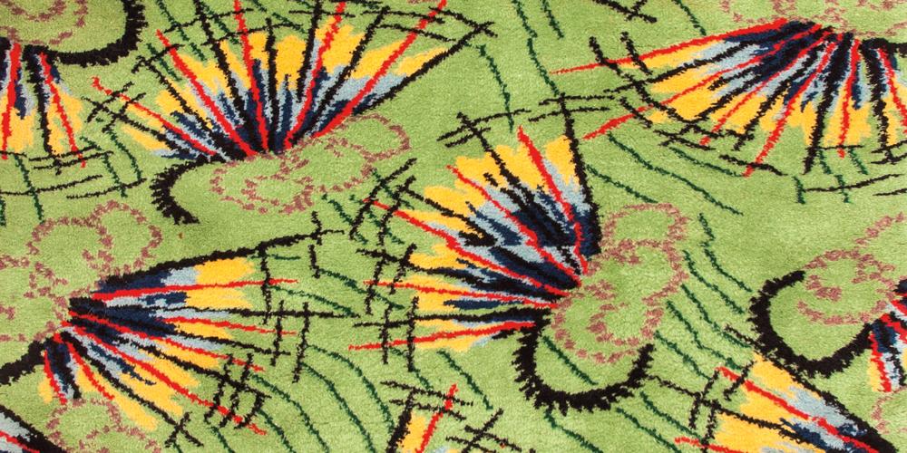 The signed and titled Bayram Yeri (Fairground) rug (detail) by Zeki Müren. Hüseyin Kaplan, Istanbul and Konya