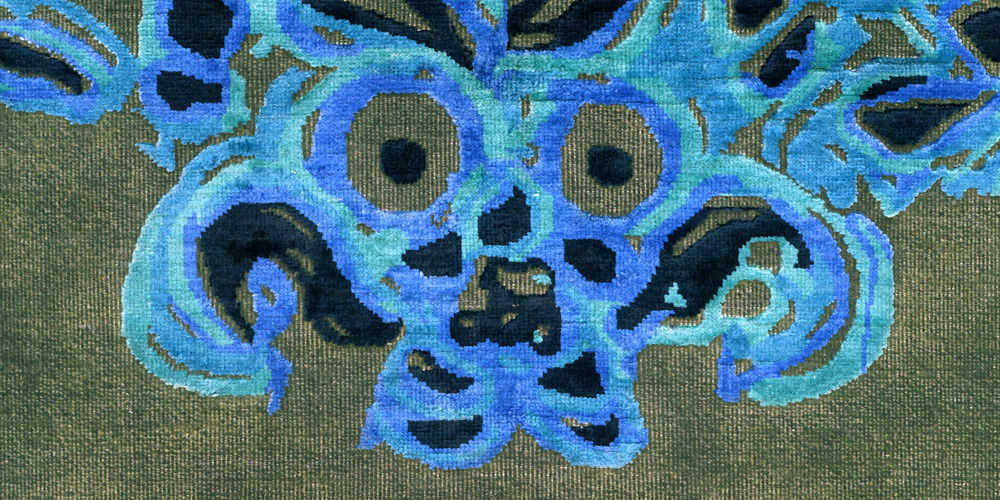 Detail of rug designed by Gary Hume, hand-knotted in hand-spun wool and silk by Christopher Farr for Tomorrow's Tigers.