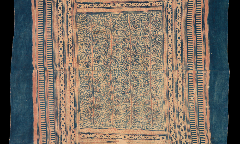 Maa' ceremonial cloth with design of trees (detail), Possibly 17th century, India, Gujarat, made for the eastern Indonesian market (Toraja). Cotton (plain weave), hand-painted mordant-dyed and resist-dyed, 1.40 x 2.08 m. Collection of Banoo and Jeevak Parpia