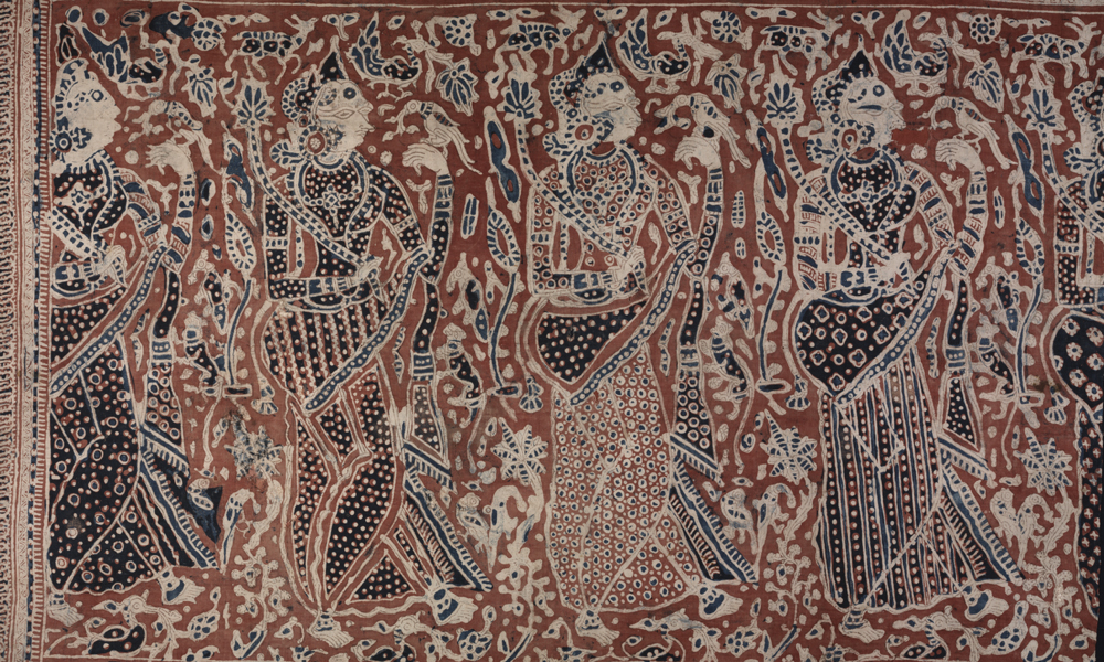 Fragment of a maa' with design of women holding parrots and flowers (detail). India, Gujarat, made for the eastern Indonesian market (Toraja), 16th century. Cotton (plain weave), hand-painted mordant-dyed and resist-dyed, 0.96 x 1.30 m. Collection of Banoo and Jeevak Parpia.