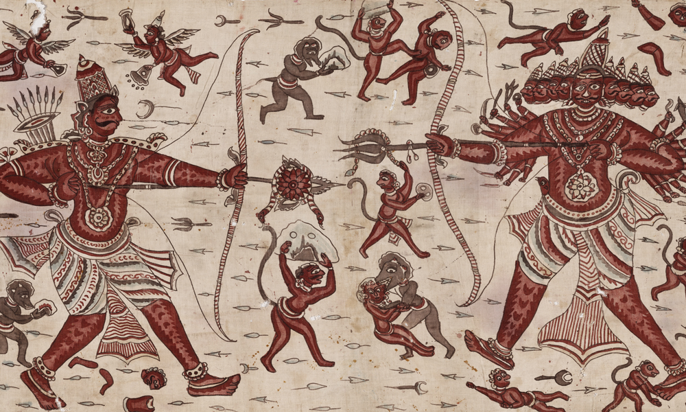 Maa' ceremonial cloth with battle scene from the Ramayana (detail), 18th century, India, Coromandel Coast, made for the Indonesian market. Cotton, hand-painted mordant-dyed, with hand-applied dye, 0.98 x 4.49 m. Collection of Banoo and Jeevak Parpia.
