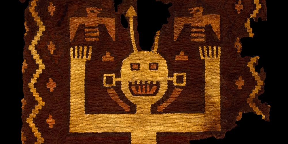 Ocucaje Shirt with Figure (detail), Paracas culture, Southern Andes, wool loop knit, c300 AD, 0.70 x 0.60 m. Paul Hughes Collection