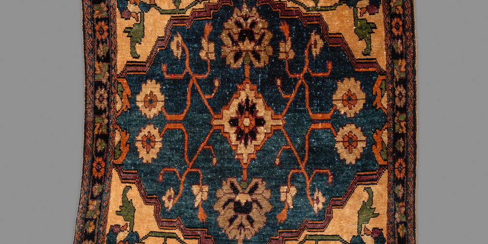 "Very fine Farahan silk pushti (detail), central west Persia, mid 19th century. 0.46 x 0.53 m (1' 6"" x 1' 9"")"