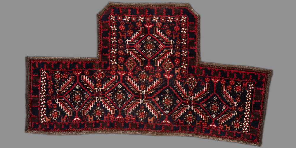 "Baluch ruzini (saddle cover) (detail), Salar Khani tribe, Khorasan province, northeast Persia, last quarter 19th century. 0.66 x 1.22 m (2' 2"" x 4' 0""). Published by Brian MacDonald in Tribal Rugs, Treasures of the Black Tent, 2010, p.128"