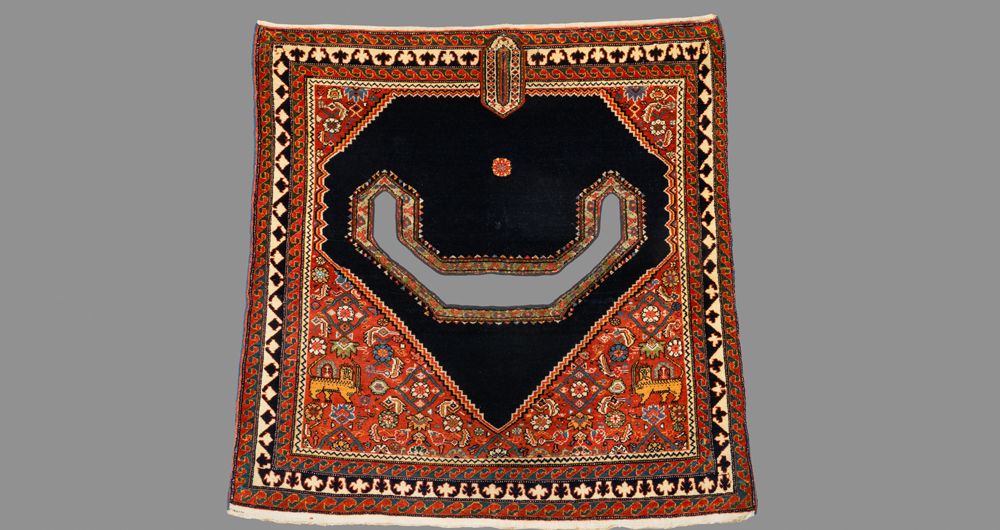 "Sehna horse saddle rug, west Persia, 19th century. 1.04 x 1.07 m (3' 5"" x 3' 6"")"