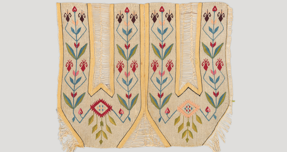 "Uncut embroidery for slippers, Ottoman era, Zouk Mikael silk looms, Mount Lebanon, late 19th century. 27 x 30.5 cm (11"" x 12"")"