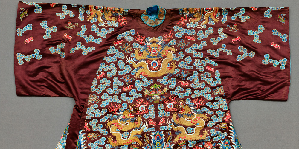 Detail of a short coat: dragons and auspicious symbols, late 19th century, silk and metal-wrapped yarn, Dallas Museum of Art, gift of Betty Ann Walter and Ruth Walter Benedict in memory of Ethyl Walter and Gladys Walter, 1993.70